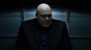 Netflix Kingpin Striped Shirt  and Navy Vest Reference Image.