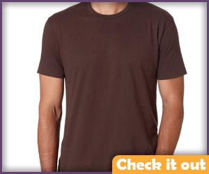 Dark brown shirt.
