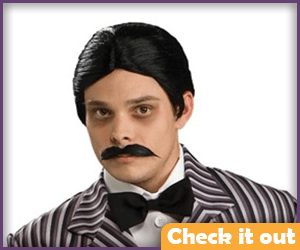 Gomez Addams Costume Wig and Mustache Set.