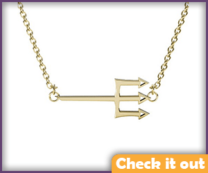 Gold Trident Necklace.