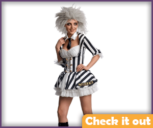 Female Beetlejuice Costume Dress Set.