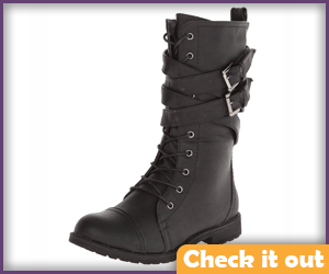 Black Cross-Strap Boots.