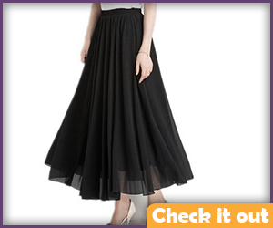 Black Chiffon Double-Layer Skirt.