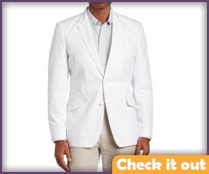 White Suit Two-Button Blazer.