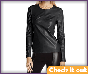 Leather Long Sleeve Top.