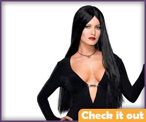Morticia Adams Black Wig.