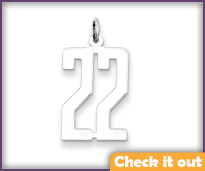 '22' Silver Necklace Charm.