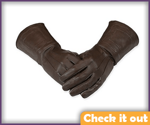Brown Gauntlet Gloves.