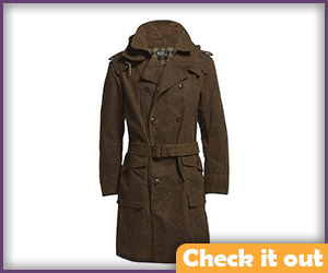 Brown Leather Trench Coat.