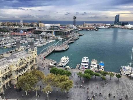 Port Vell - der Hafen von Barcelona - Aussicht von der Kolumbus-Statue