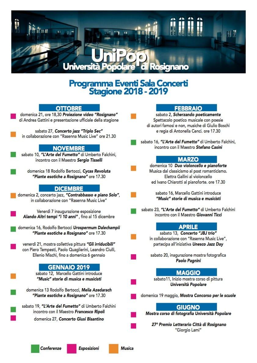 Università Popolare Rosignano: Eventi Sala Concerti