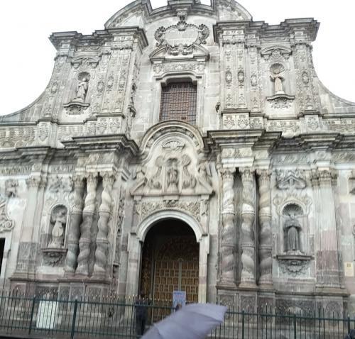 La Compañía de Jesus Church, unassuming facade, much gold leaf inside
