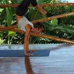 practitioner practicing yoga at the yoga-farm