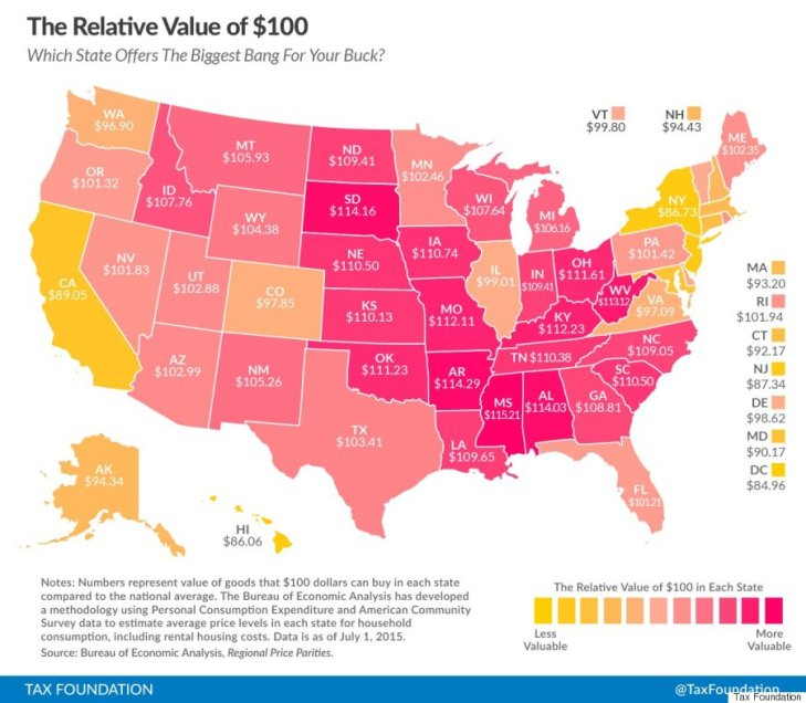 $100 value in each US state