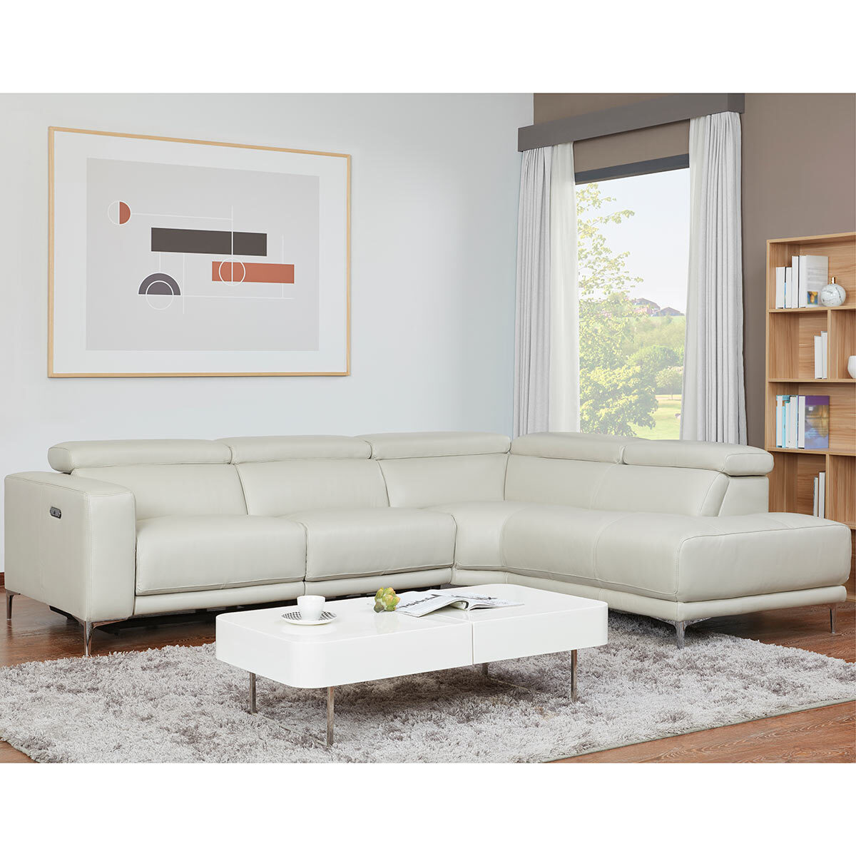 kuka redland leather reclining sectional sofa with adjustable headrests right facing costco uk