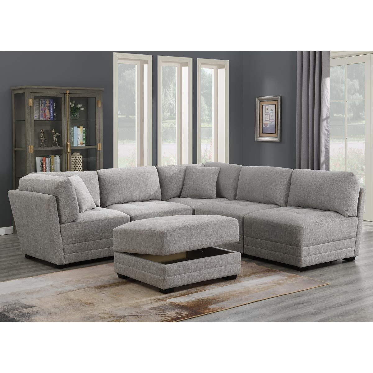 mstar international norris 6 piece modular fabric sectional sofa with storage ottoman costco uk