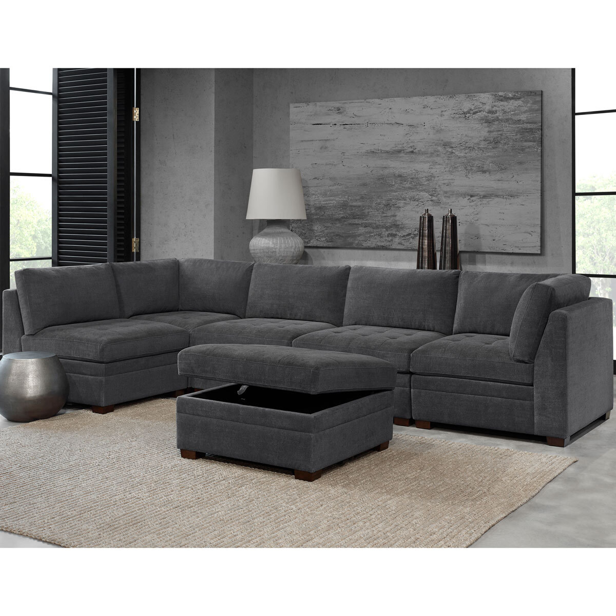 thomasville tisdale dark grey 6 piece modular fabric sofa costco uk