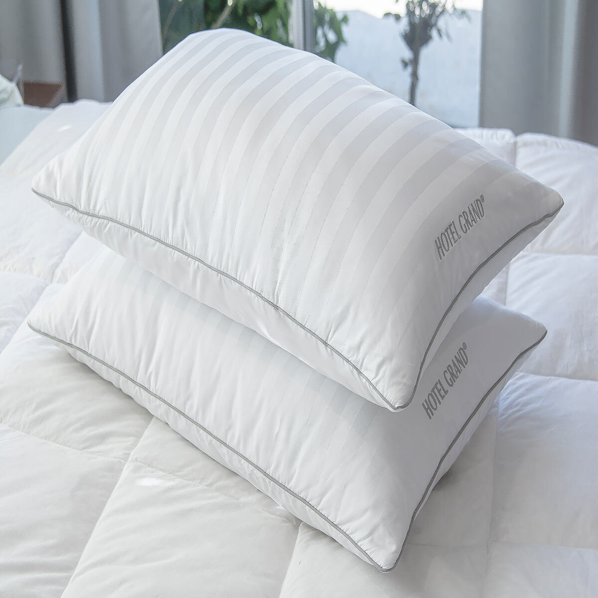 hotel grand feather down rolled jumbo pillow 2 pack costco uk