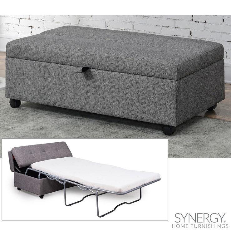 synergy home furnishings grey fabric sleeper ottoman costco uk