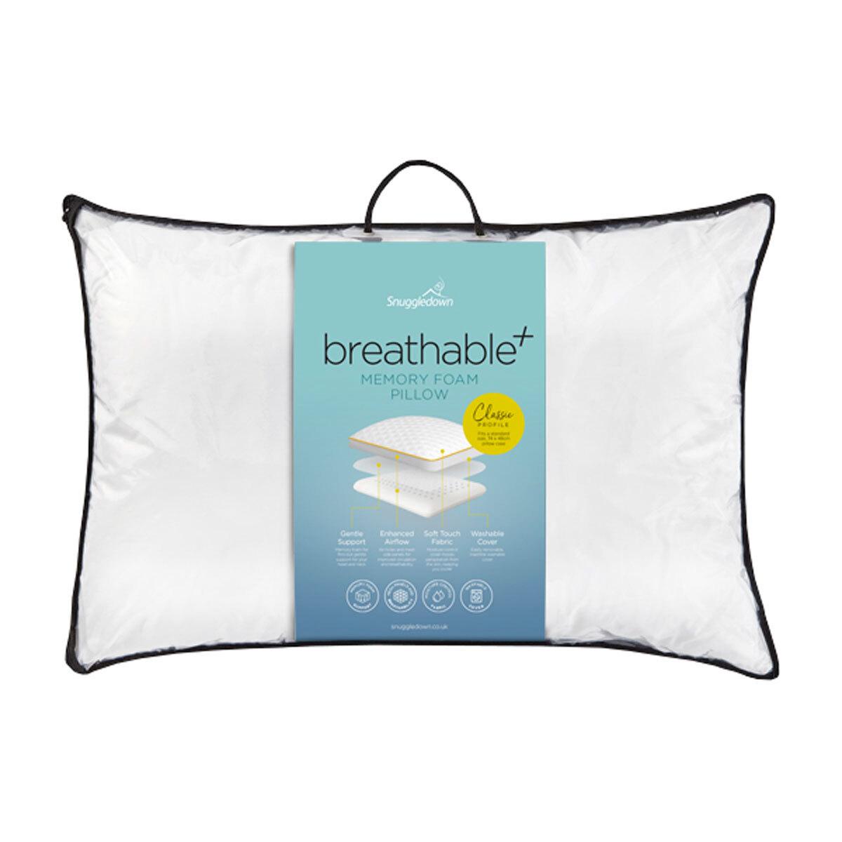 snuggledown breathable classic profile memory foam pillow costco uk