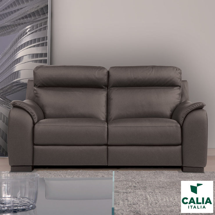 calia italia serena 2 seater power recliner grey italian leather sofa costco uk