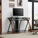 Accord Concept Ced 301 Espresso Curved Wood Glass Home Office Desk Costco Uk
