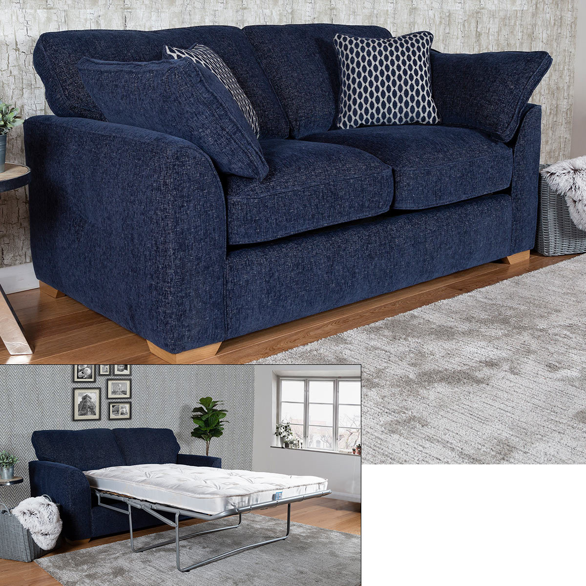 Landree Fabric Full Size Sleeper Sofa Bed With 2 Accent Pillows Costco Uk