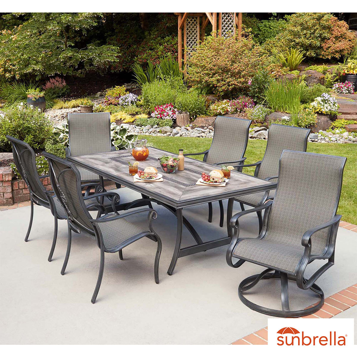 agio campbell 7 piece sling dining set cover costco uk