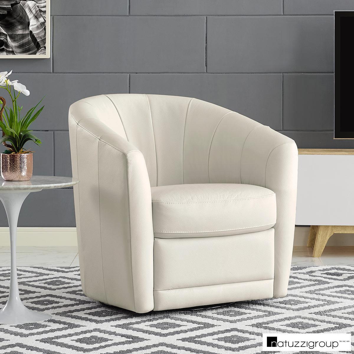 Natuzzi Cream Leather Swivel Accent Chair Costco Uk