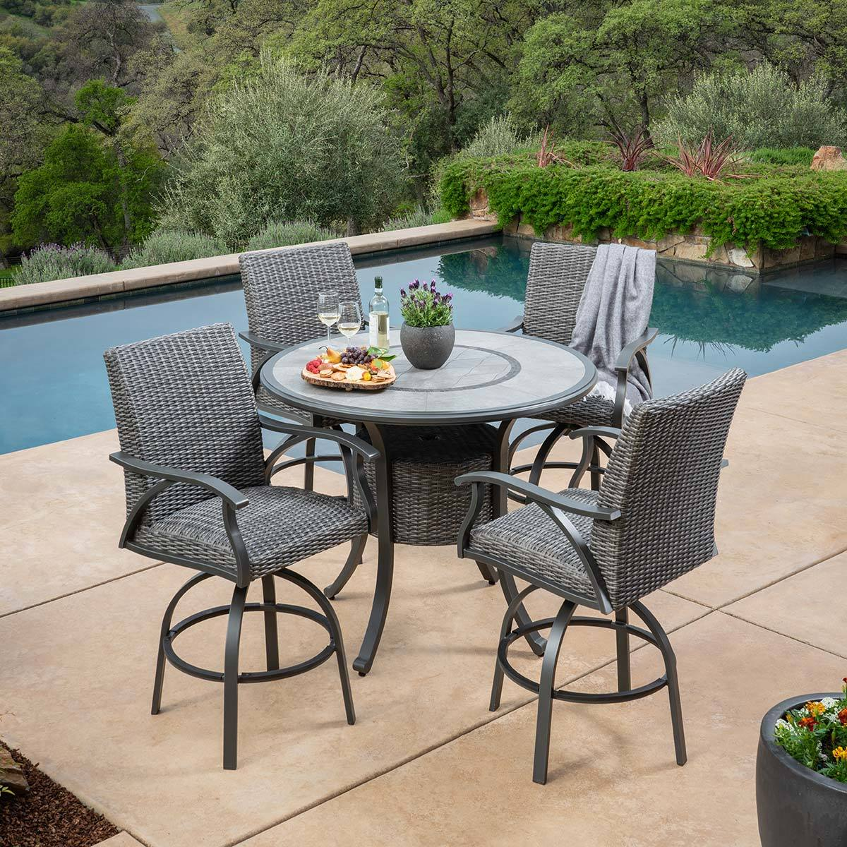sunvilla indigo 5 piece woven bar height dining patio set cover costco uk