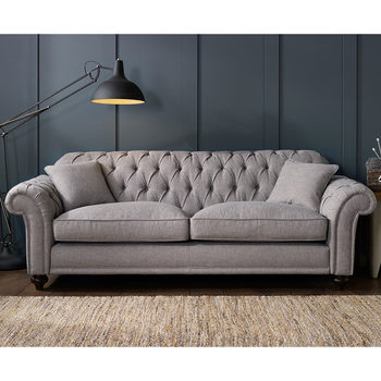 All Sofas Bordeaux Button Back 4 Seater Grey Fabric Sofa with 2 Accent Pillows
