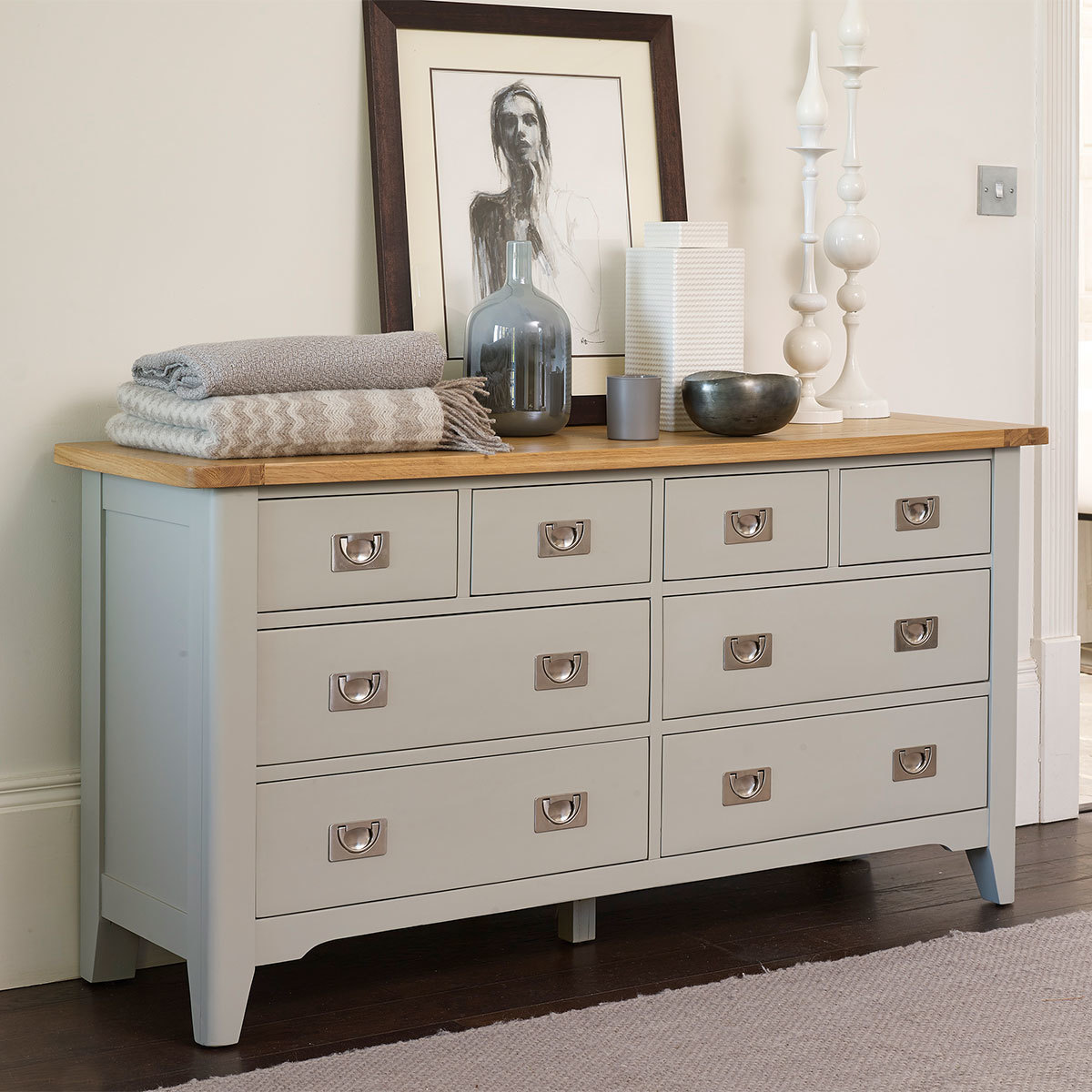 bordeaux painted 8 drawer wide chest costco uk