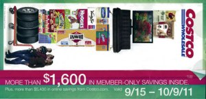 September 2011 Costco Coupon book cover