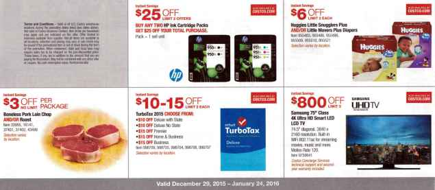 January 2016 Costco Coupon Book Page 1