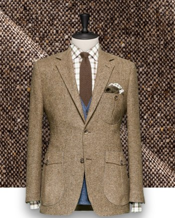 Blazer Marron Tweed sur-mesure Paris