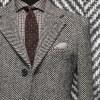 costume privé Manteau sur mesure cachemire gris clair chevrons