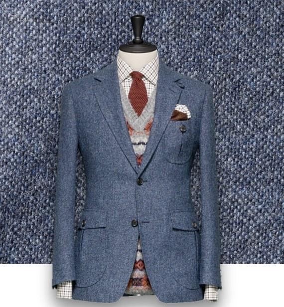 Blazer Bleu Gris Tweed casual tailleur paris