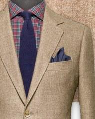 blazer marron chevrons costume sur mesure zoom