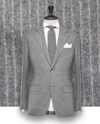 Costume gris clair Flanelle rayures tailleur costume sur mesure paris