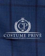 Costume bleu carreaux foncés costume sur mesure tissu