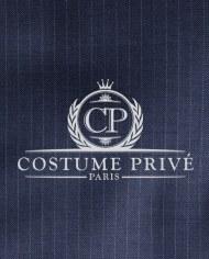 Costume bleu fines rayures costume sur mesure logo