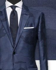 Blazer bleu camouflage costume sur mesure zoom