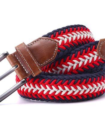 ceinture tressée tricolore rouge diagonale bleu blanc rouge fleche