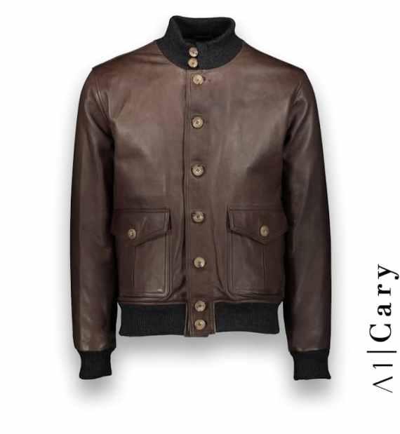Blouson cuir marron glacé A1 Cary costume privé paris fabrication sur mesure Italie