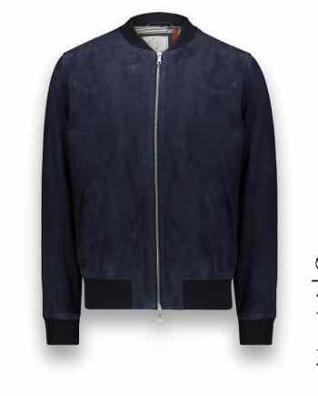 Blouson Suede bleu MA1 Steve costume privé paris fabrication sur mesure Italie