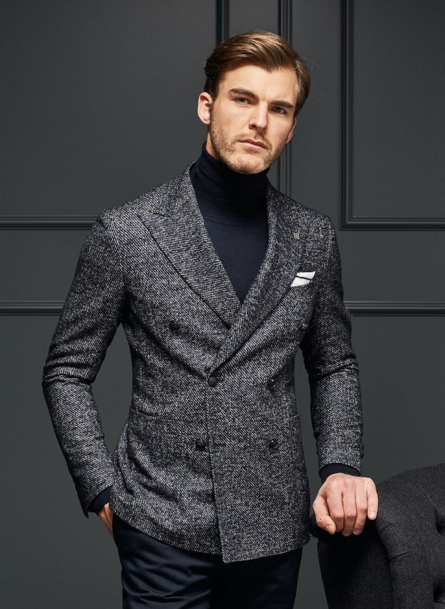 blazer croisé bleu gris