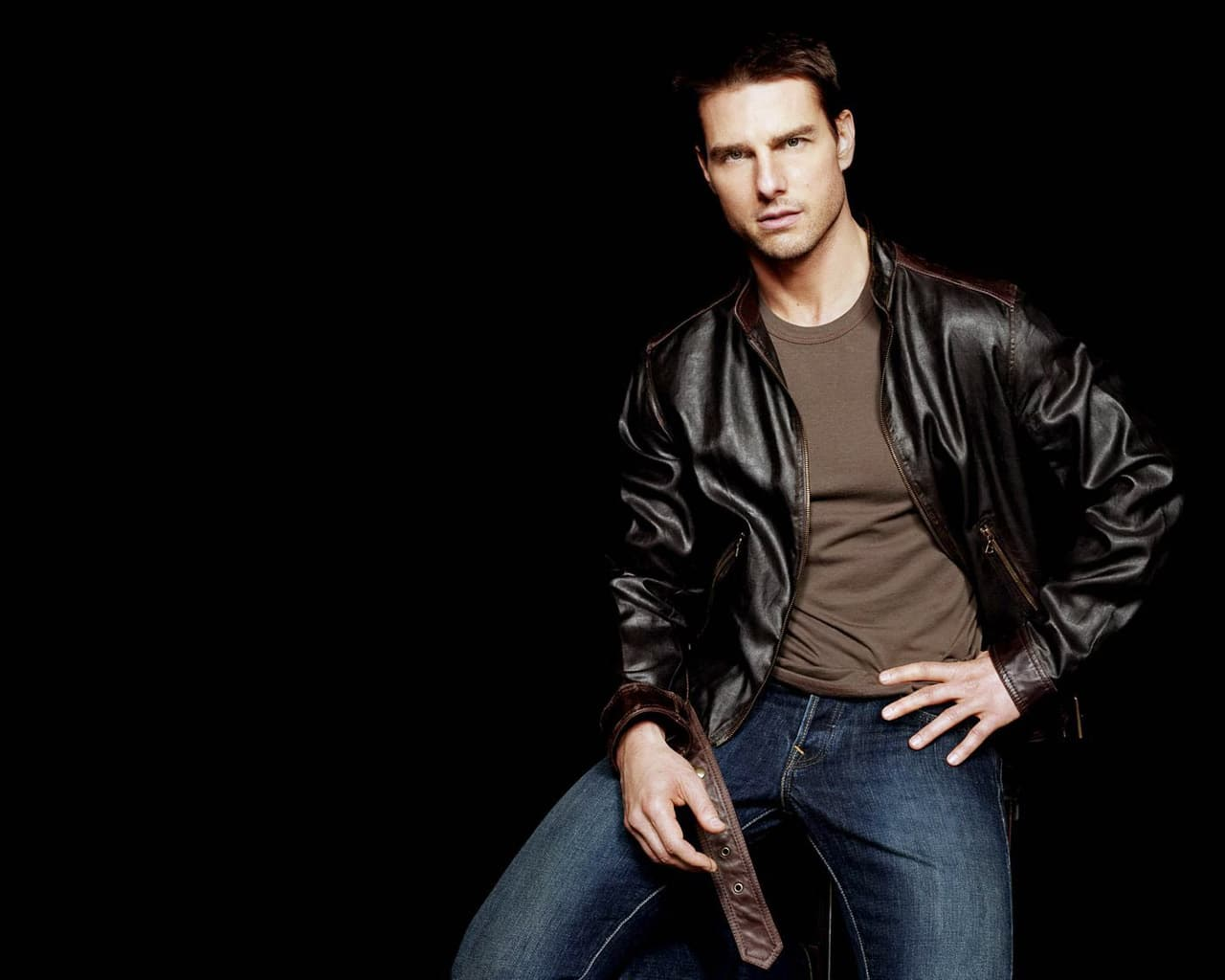 blouson cuir marron Tom Cruise