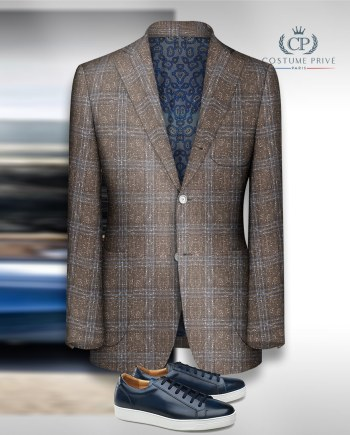 blazer brun tweed carreaux