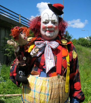 Unique film quality clown costumes w yellow checked trousers