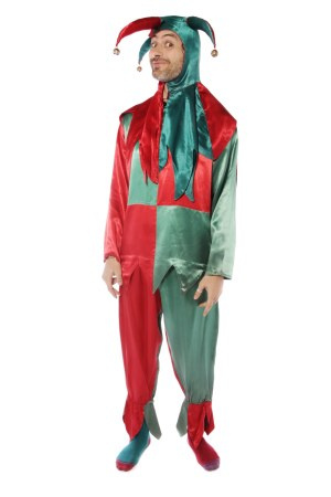 Red and green jester costume